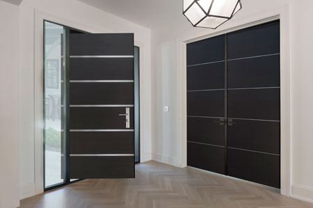 Modern Interior Door.  Wood Interior Modern Wood Door, steel inlays DBIM-AL8005 359