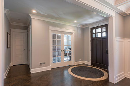 Classic Entry Door.  classic front entry door, interior view, solid wood, dark finish DB-311PW 113