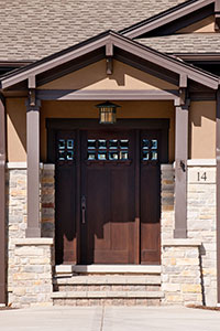Craftsman Entry Door.  custom fractsman style front entry door with clear glass DB-311 2SL CST