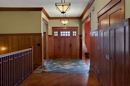 Craftsman Entry Door.  hallway view of custom craftsman style  DB-311 2SL CST