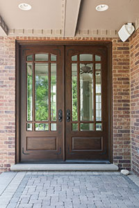 Classic Entry Door.  Wooden Door with Beveled Glass and Prairie Grills DB-511 DD CST 182