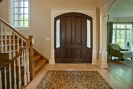 Classic Entry Door.  4 Panel Single Solid Mahogany Wood Door with sidelites - Clear Beveled Glass DB-152W 2SL 187