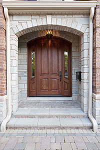 Classic Entry Door.     4 Panel  Solid Mahogany Wood Door with sidelites GD-152W 2SL
