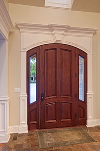 Classic Entry Door.  hallway view of single front entry door with sidelites DB-152W 2SL