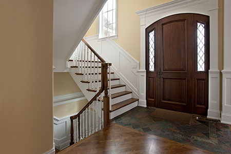 Classic Front Door.  2 Panel Arched Top Mahogany Single Door with Dimaond Beveled Glass DB-552 2SL 194