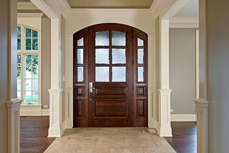 Classic Entry Door.  Classic Collection Solid Wood Entry Door - True-Divided Privacy Glue Chip Glass DB-652 2SL 191