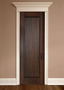 Traditional Interior Door.  Single Door, Hand Carved, Ridged Tambour Style  DBI-580 290