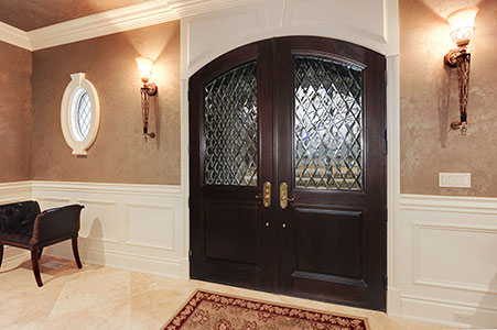 Classic Entry Door.     Custom Solid Mahogany Wood Double Door with Transom with Clear Diamond Glass