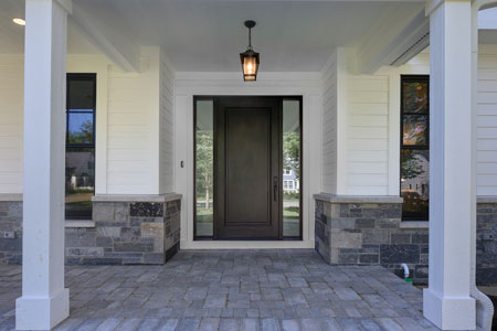 Classic Entry Door.  classic single  front door with sidelites, clear beveled glass DB-001PW 2SL 345
