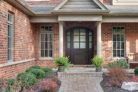 Classic Entry Door.  arched top two panel door wtih sidelites, privacy glass DB-652W 2SL