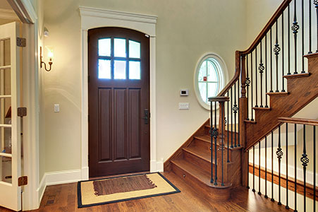 Classic Entry Door.     Custom Solid Mahogany Door, Beveled Glue Chip Privacy Glass with Grilles, Interior View GD-012WA