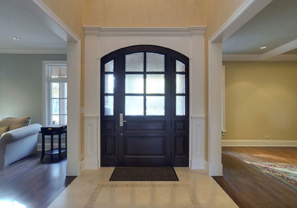 Classic Entry Door.  arched top front entry door, privacy glass for custom home DB-652W 2SL