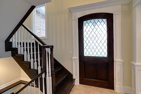 Classic Front Door.  single panel front entry door with diamond glass  DB-552WDG