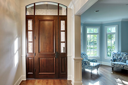 Classic Entry Door.     Custom 2 Panel Solid Mahogany Entry Door with 2 Sidelites and Transom, Clear Beveled Glass, Interior View GD-301T 2SL
