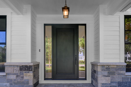 Classic Entry Door.  classic single  front door with sidelites, clear beveled glass DB-001PW 2SL 346