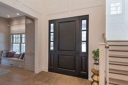 Classic Entry Door.  classic exterior door, with sidelites, hallway view DB-301PW 2SL 56
