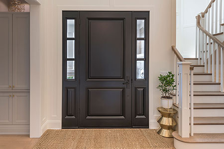 Classic Entry Door.  interior view of classic two panel front entry door with sidelites DB-301PW 2SL 53
