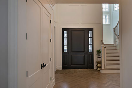 Classic Entry Door.  interior view of classic two panel front entry door with sidelites DB-301PW 2SL 57