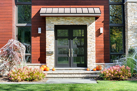 Modern Entry Door.     Custom Modern Wood Double Door, Insulated Privacy Glass GD-EMD-823 DD CST