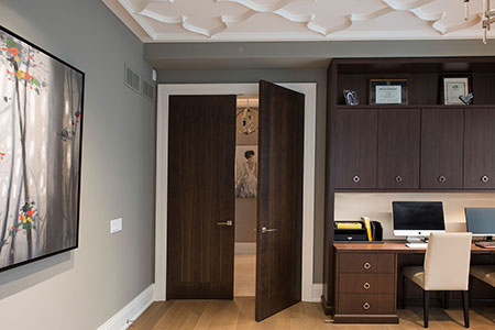 Modern Interior Door.  Custom Modern Double Interrior Door, Walnut Wood to Match the Library DBIM-MD1005