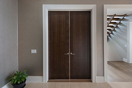 Modern Interior Door.  Modern Double Interior Door from Walnut Wood making great design statement  DBIM-MD1005