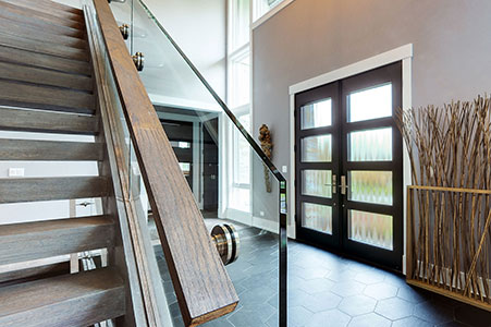 Modern Entry Door.  Custom Modern Wood Double Door, Insulated Privacy Glass, Interior View DB-EMD-823 DD CST 16