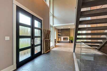 Modern Entry Door.     Custom Modern Wood Double Door, Insulated Privacy Glass, Interior View GD-EMD-823 DD CST