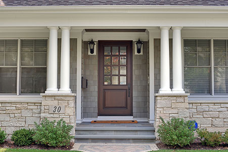 Classic Entry Door.     Classic Collection French Solid Wood Front Entry Door - Clear Beveled Glass GD-012W