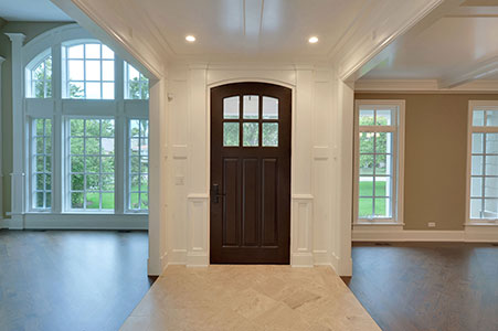 Classic Entry Door.  hallway view of single front entry door, clear glass, solid wood DB-112WA 162