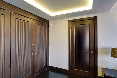 Traditional Interior Door.  Custom Interior Solid Wood Double Doors, Custom Ridges, Transitional Style DBI-580 DD 250
