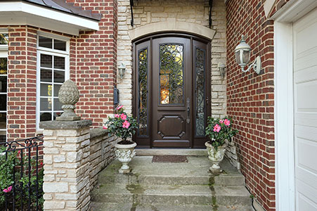 Heritage Entry Door.  Custom Solid Mahogany Wood Door with Two Sidelites and Wrought Iron, Heritage Collection, Exterior View DB-H003 2SL F CST 209