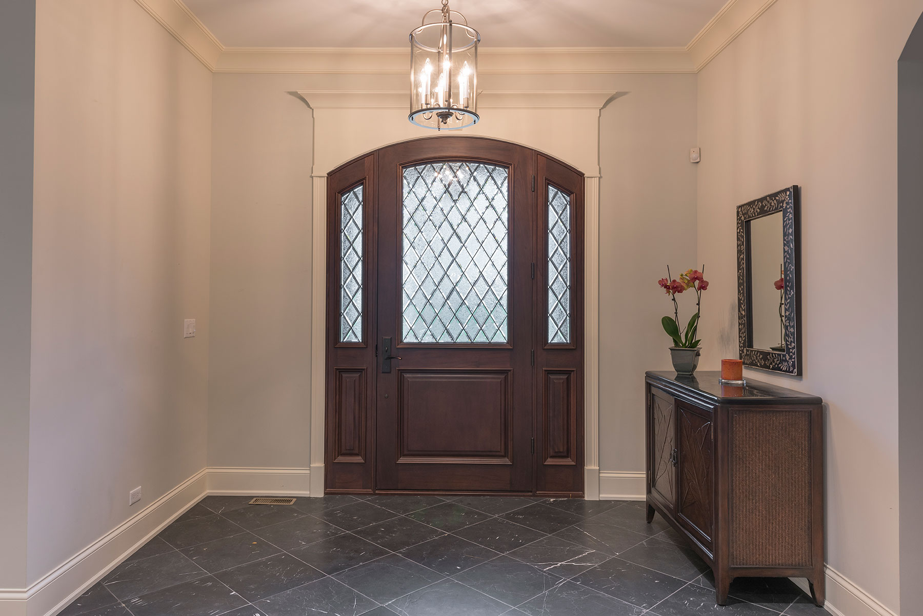 Custom Wood Front Entry Doors | solid wood mahogany door with sidelites, privacy glass, dark finish DB-552WDG 2SL - Glenview Doors - Custom Doors in Chicago