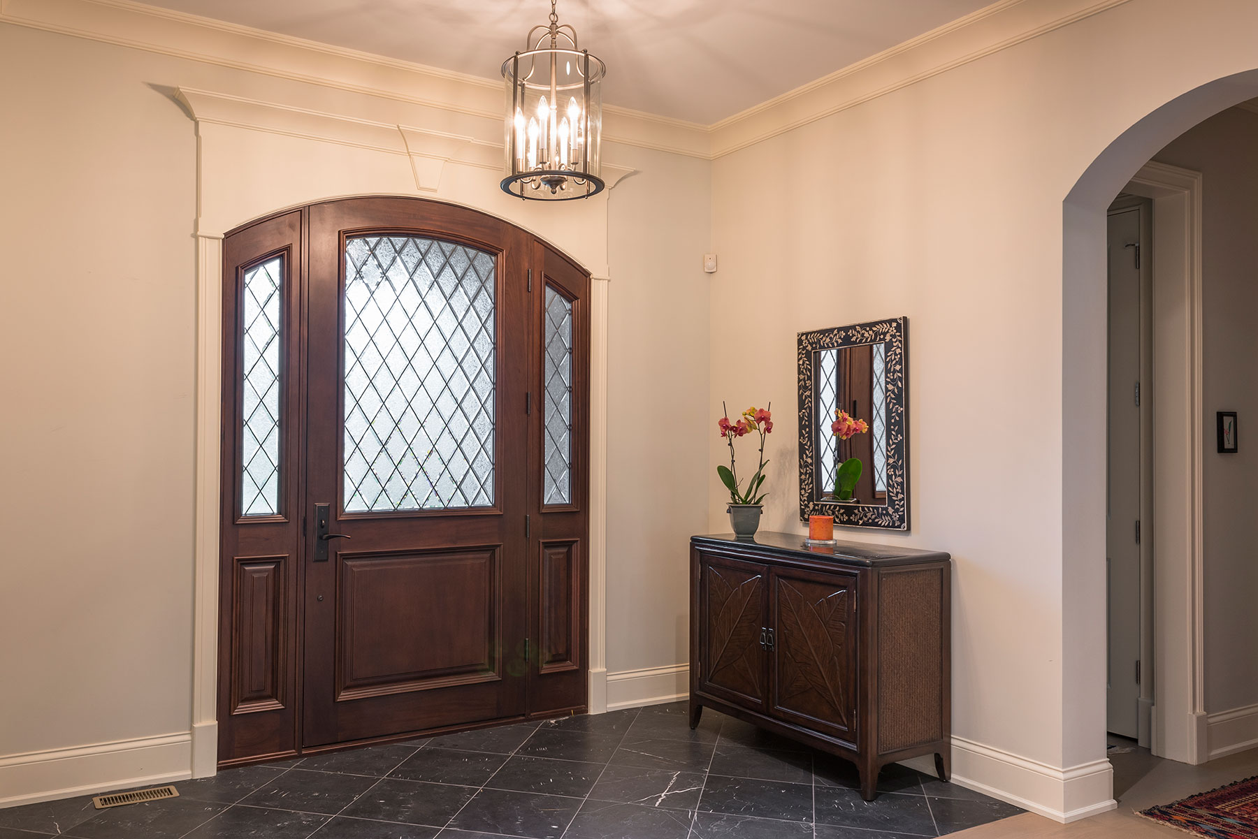 Custom Wood Front Entry Doors | interior view of single door with sideites, solid wood DB-552WDG 2SL - Glenview Doors - Custom Doors in Chicago