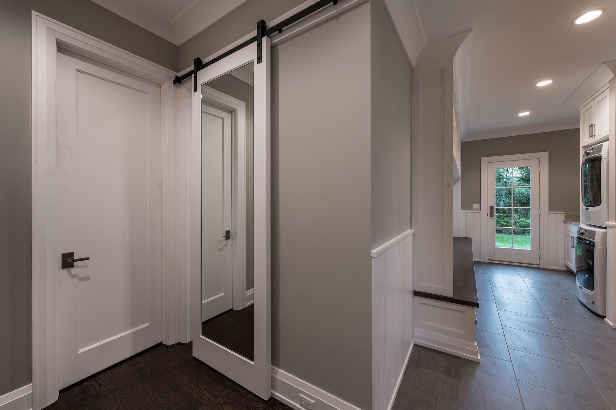 Custom Wood Interior Doors | paint grade barn door with mirror  - Glenview Doors - Custom Doors in Chicago