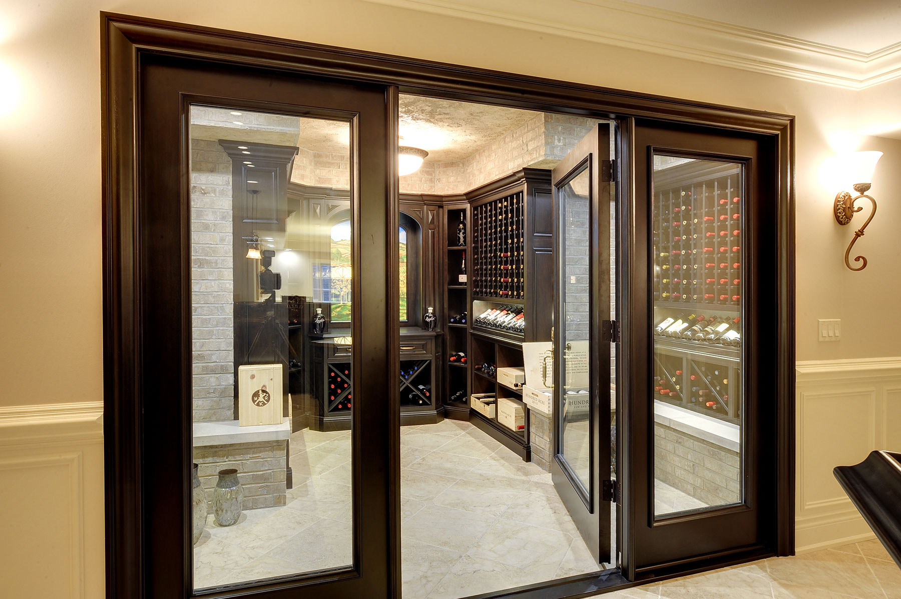 Custom Interior Door Entry To Wine Cellar With Clear Glass Door Gallery In Stock And Custom Doors Pivot Doors Wine Cellar Doors Solid Wood Euro Technology Paint Grade Mdf
