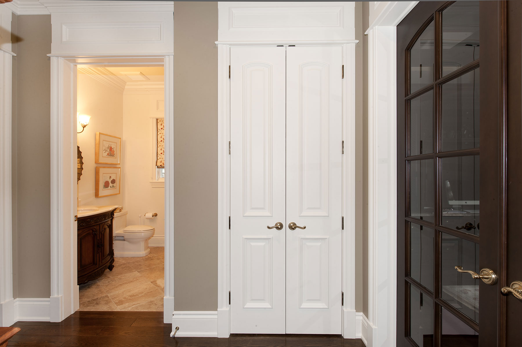 Custom Wood Interior Doors | Custom Interior Double Door, 2 Raised Panel with Raided Moulding White Painted  - Glenview Doors - Custom Doors in Chicago