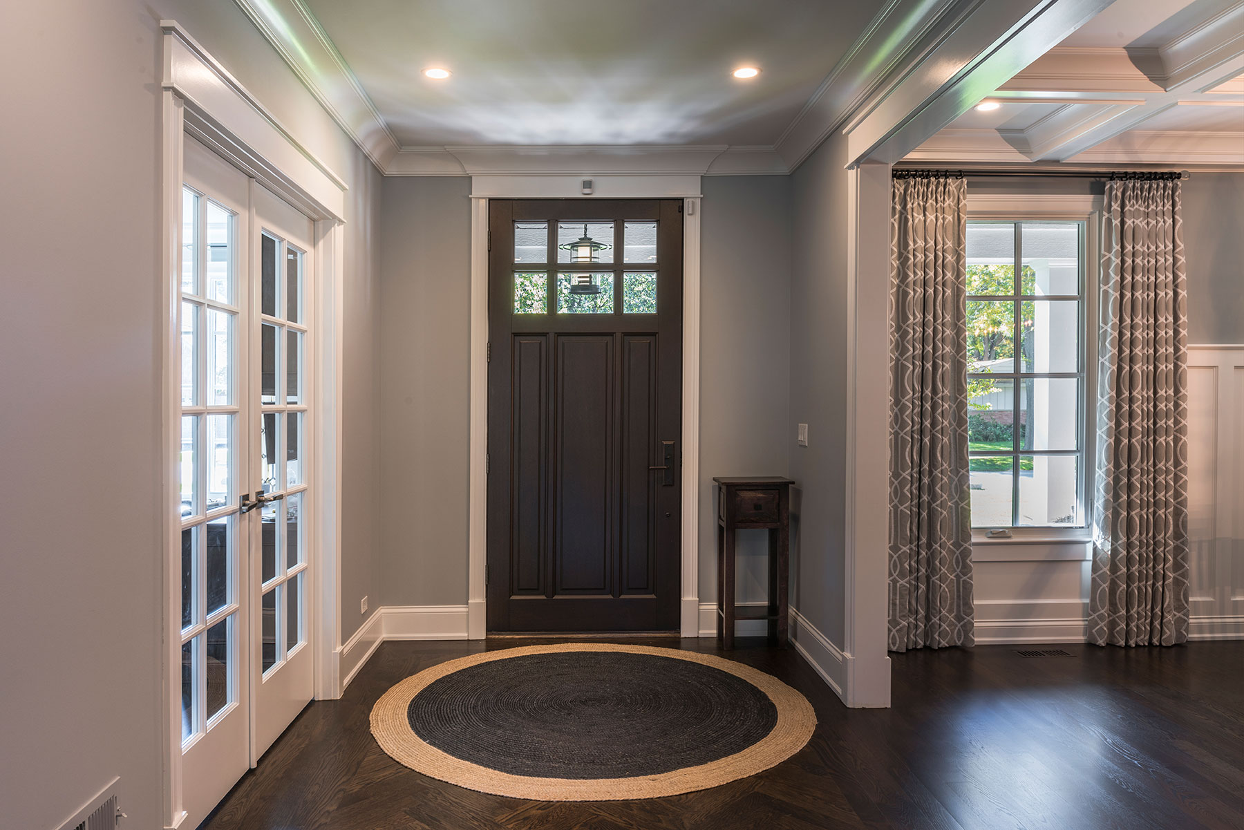 Custom Wood Front Entry Doors | exterior view of solid wood front entry door, dark finish DB-311PW - Glenview Doors - Custom Doors in Chicago