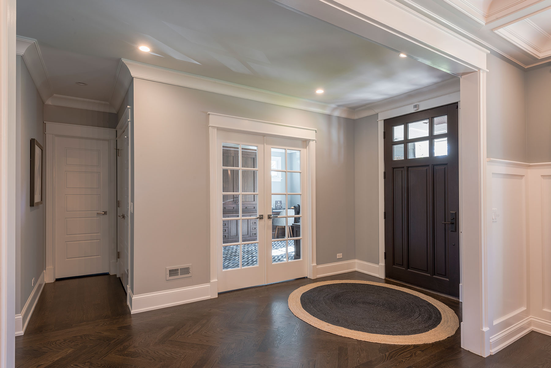 Custom Wood Front Entry Doors | 5-Panel Paint Grade MDF Single Powder Room Door and Divided lite Clear Glass Office Double Door DB-311PW - Glenview Doors - Custom Doors in Chicago