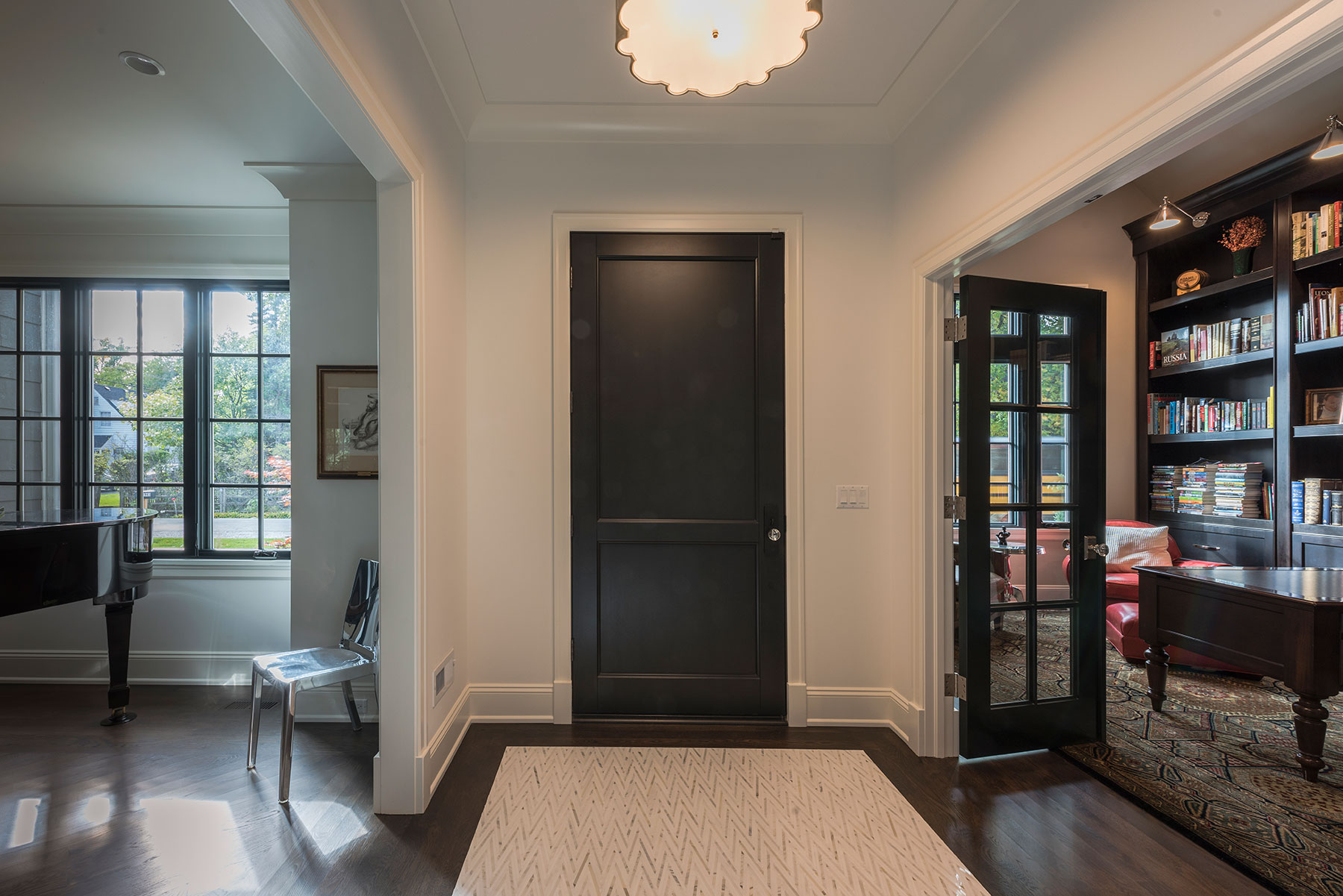 Custom Wood Front Entry Doors | Interior View of Custom Classic 2 Flat Panel Mahogany Entry Door DB-201PW - Glenview Doors - Custom Doors in Chicago