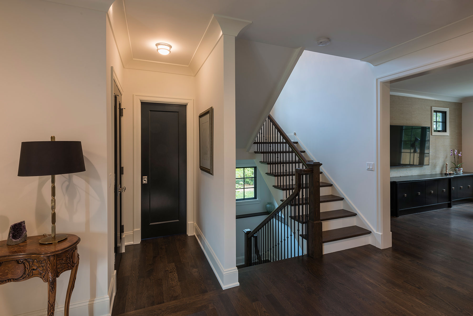 Custom Wood Interior Doors | Custom Mahogany Single Panel Powder Room Door    Glenview Haus