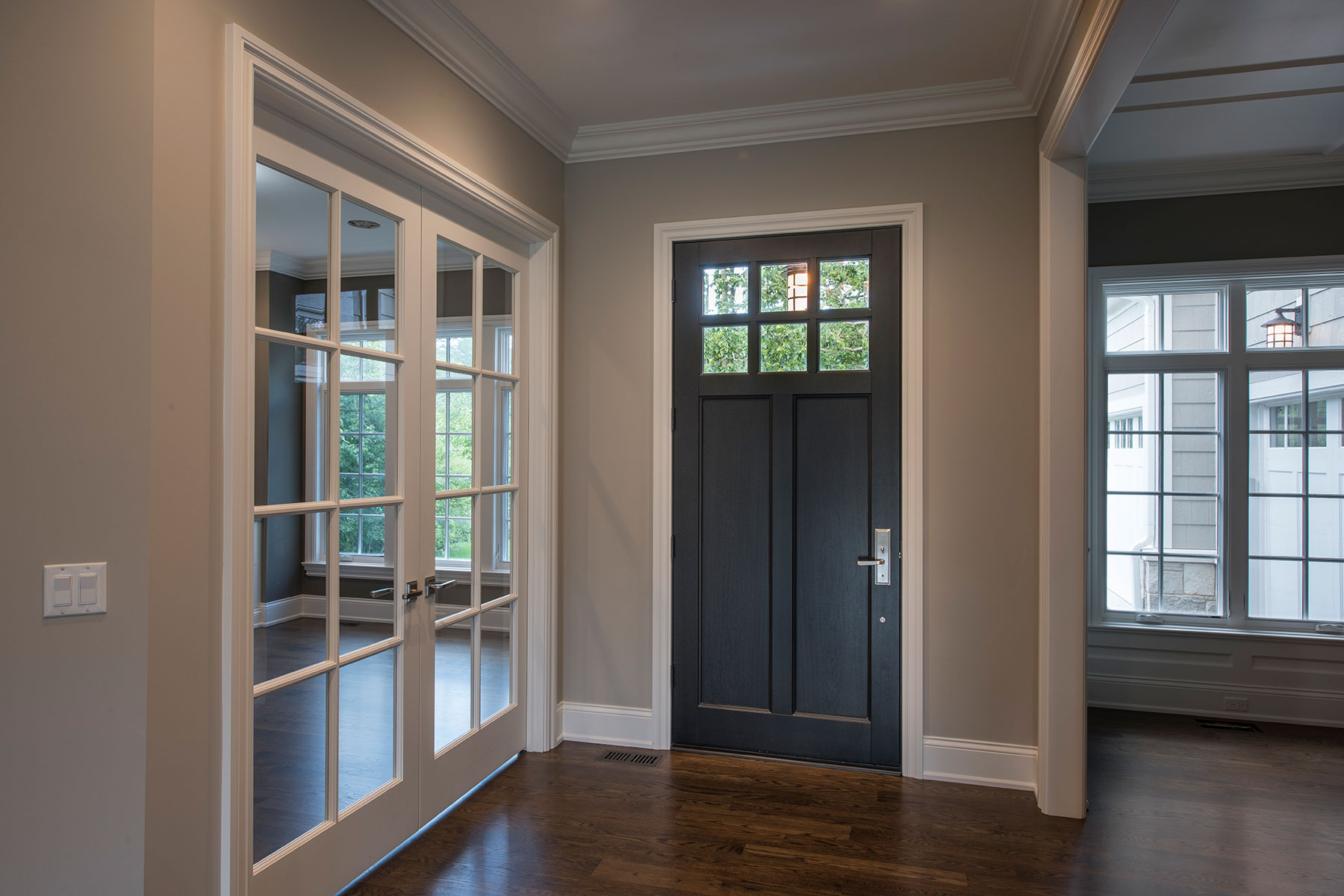 Custom Wood Front Entry Doors | interior view of classic single front entry door DB-112PW - Glenview Doors - Custom Doors in Chicago