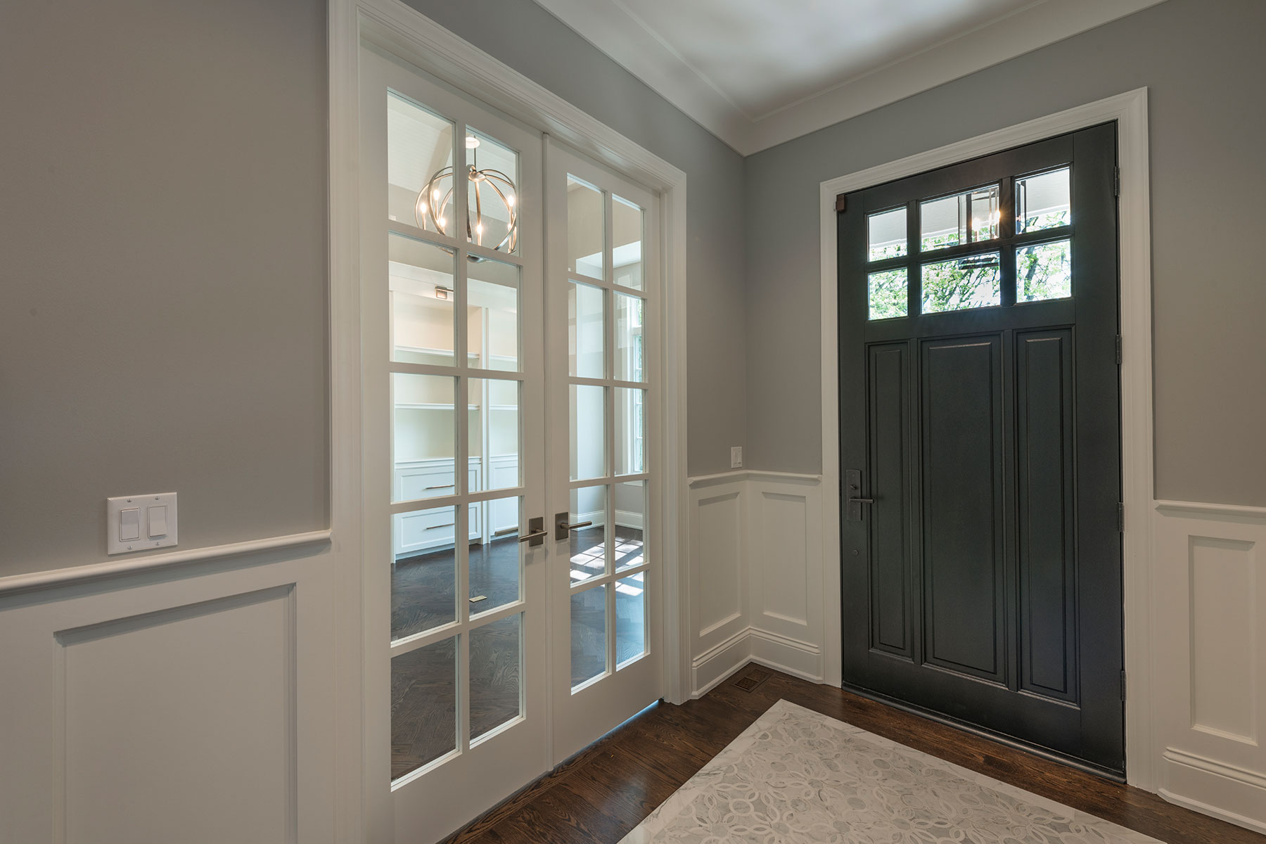 Wood Front Entry Doors in-Stock | classic style front entry door with clear glass, interior view DB-311PW 2SL - Glenview Doors - Custom Doors in Chicago