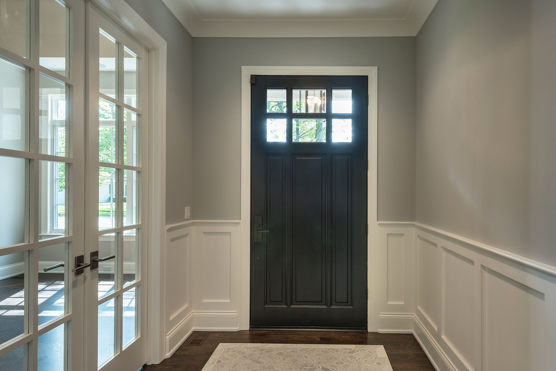 Wood Front Entry Doors in-Stock | classic style front entry door, interior view, dark finish DB-311PW 2SL - Glenview Doors - Custom Doors in Chicago