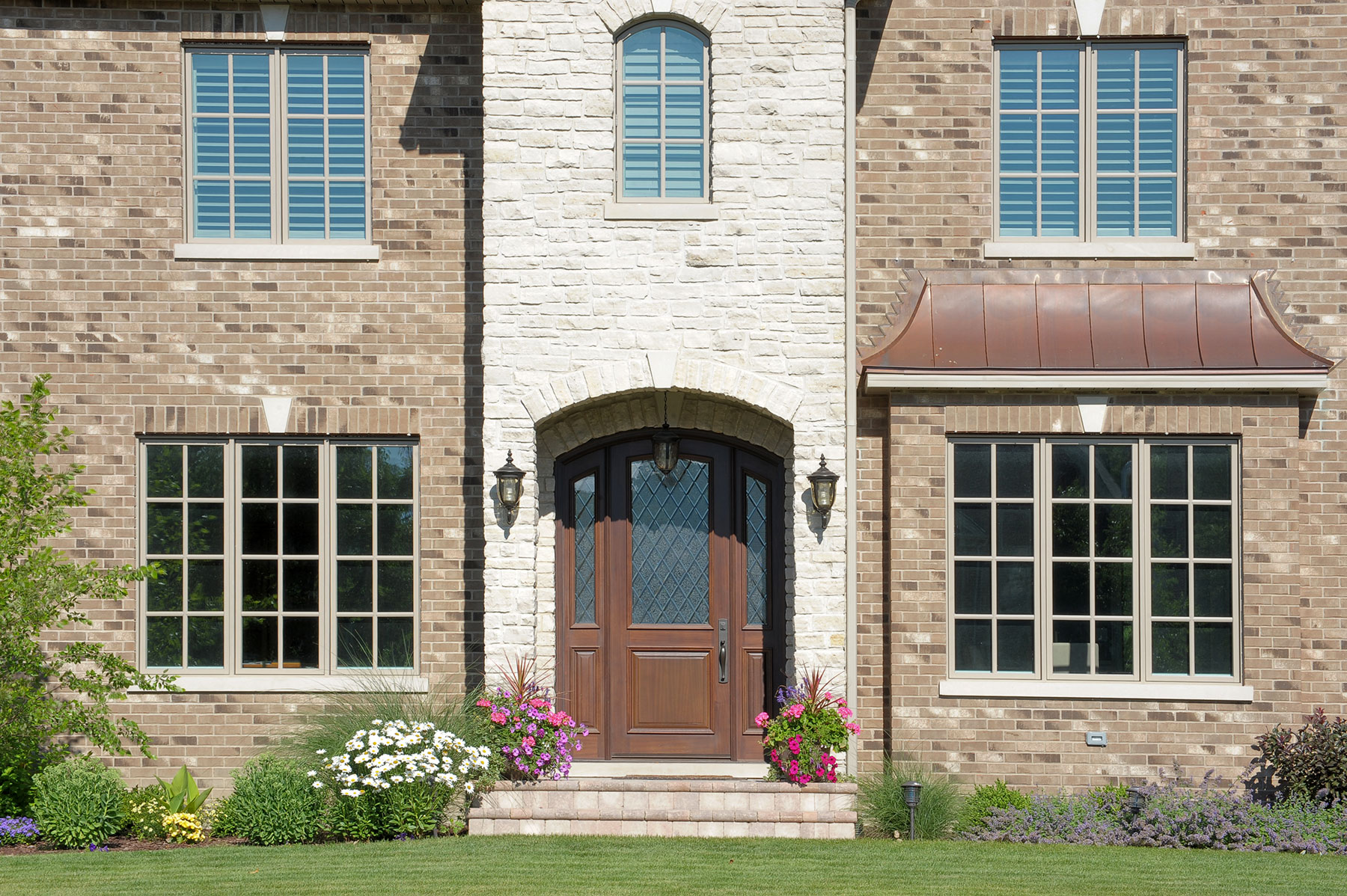 Solid Wood Front Entry Doors in-Stock. Classic Collection, Arched Top Solid Mahogany Wood Door with Diamond Glass