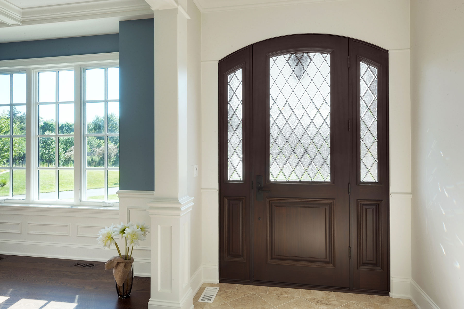 Solid Wood Front Entry Doors in-Stock | classic style mahogany front entry door, interior view, with privacy glass DB-552DG 2SL - Glenview Doors - Custom Doors in Chicago