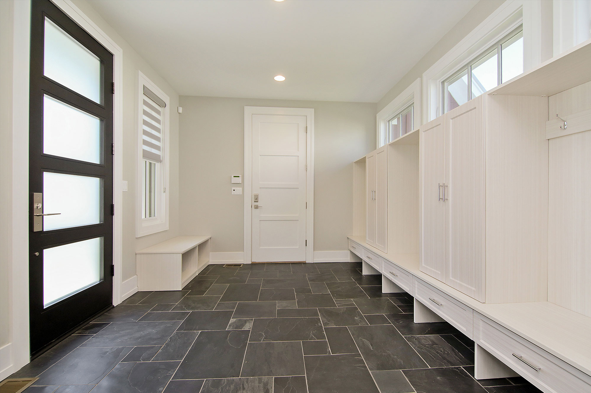 Custom Wood Front Entry Doors. Custom Single Mudroom Entry Door - Modern Style