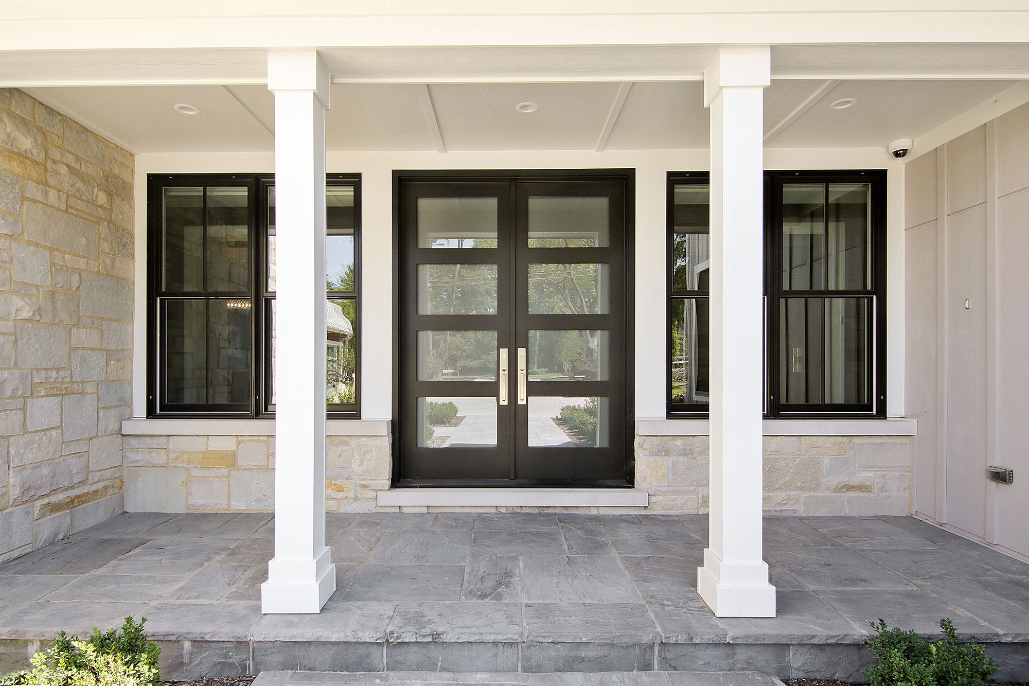 Custom Wood Front Entry Doors. Custom Front Entry Double Door - Modern Style with Privacy Glass