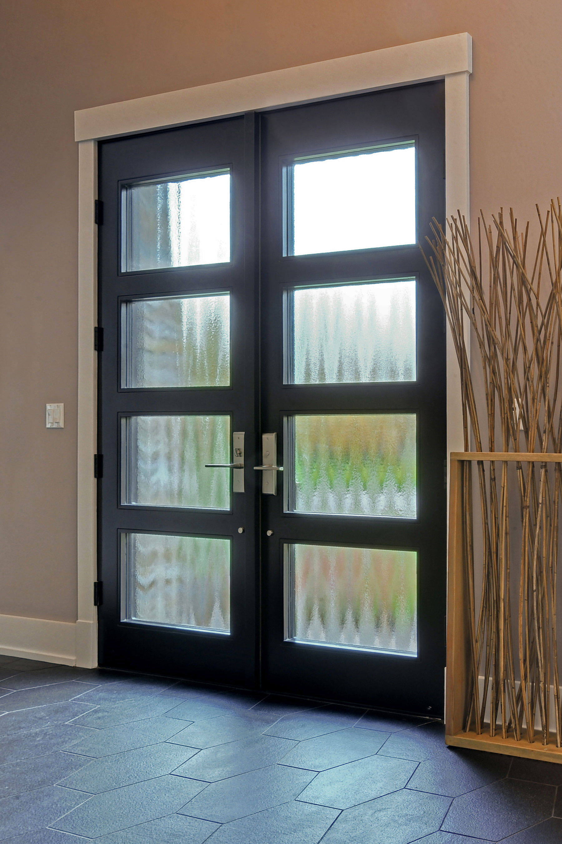 Custom Wood Front Entry Doors | Custom Modern Wood Double Door  DB-EMD-823 DD CST - Glenview Doors - Custom Doors in Chicago