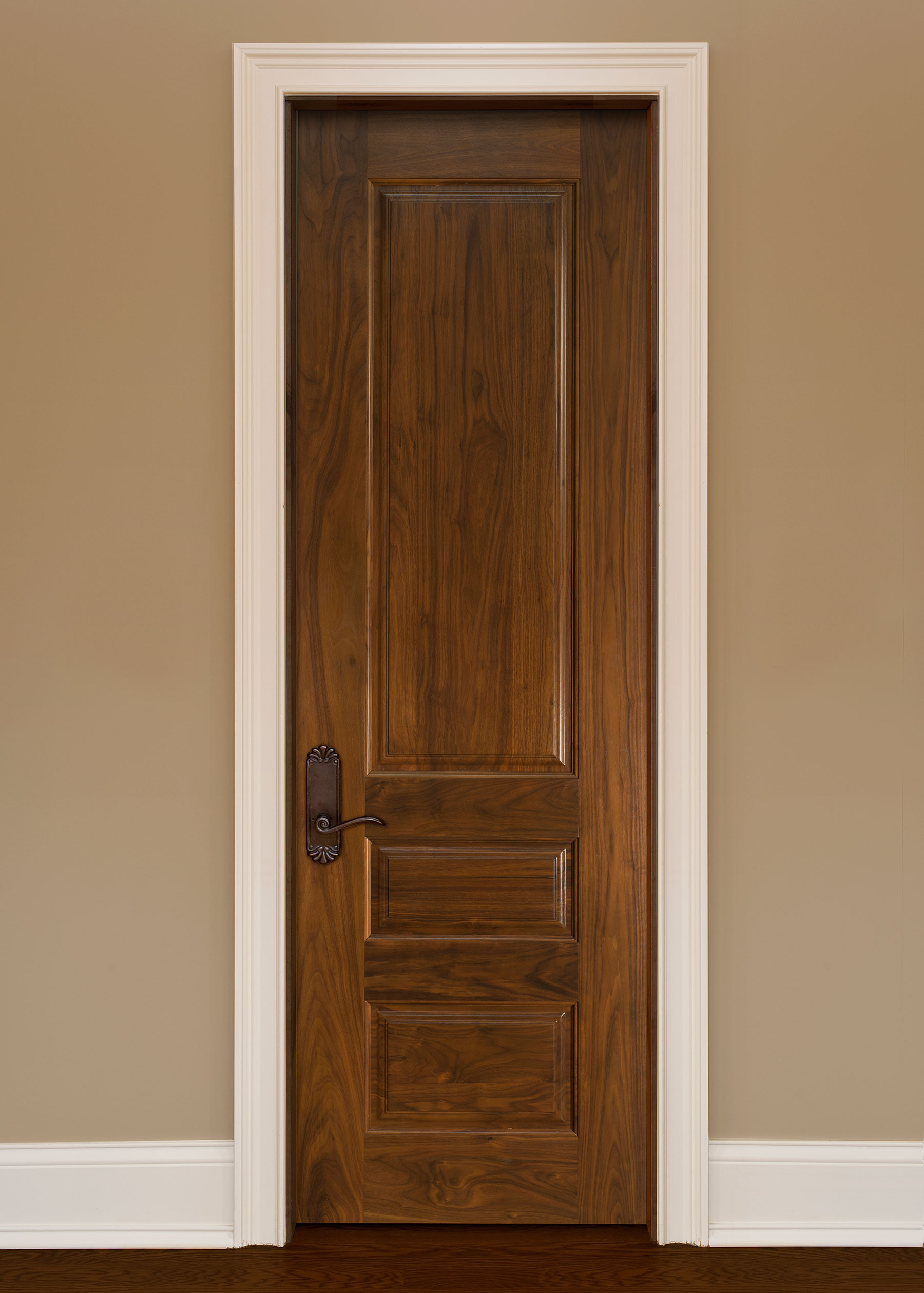 Custom Interior 3 Raised Panel Solid Wood Door Single Custom Wood Interior Doors Single
