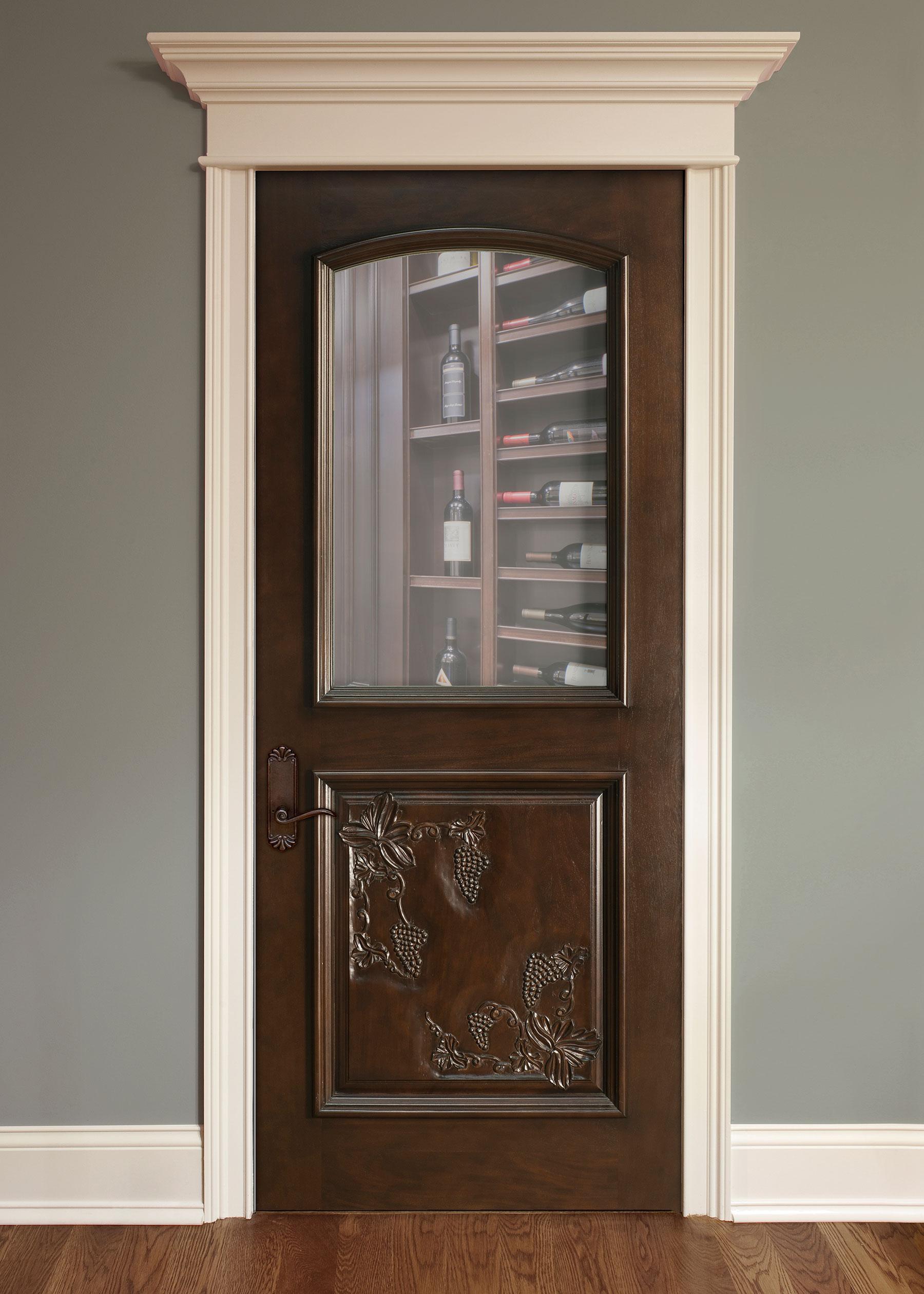 Custom Wood Interior Doors | Wine Cellar Solid Wood Door,  Custom Carving DBI-711HCR - Glenview Doors - Custom Doors in Chicago